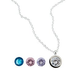 Marsala Silver-Plated Round Bezel Interchangeable Pendant
