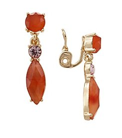 Napier® Goldtone And Orange Linear Clip Earrings