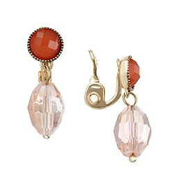 Napier® Goldtone And Pink Double Drop Clip Earrings