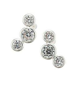 Napier® Silvertone And Cubic Zirconia Three Stone Stud Earrings