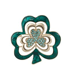 Napier® Boxed Goldtone And Green Clover Pin