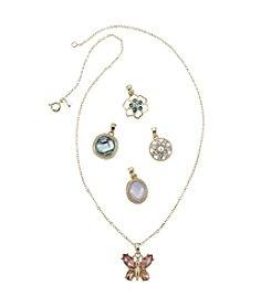 Napier® Boxed Goldtone And Multi Interchangeable Pendant Necklace