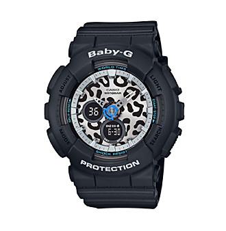Baby-G Women's Silvertone Black Bracelet Watch