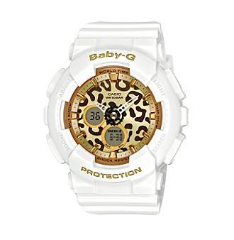 Baby-G Women's Goldtone Analog-Digital White Bracelet Watch
