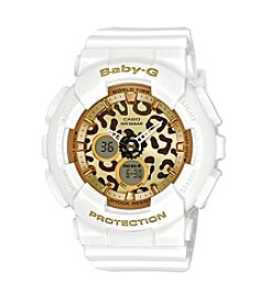 Baby-G Women's Goldtone Analog-Digital White Bracelet Watch