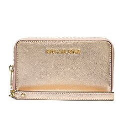 MICHAEL Michael Kors® Jet Set Travel Large Metallic Leather Smartphone Wristlet