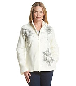 Alfred Dunner® Alpine Lodge Snowflake Fleece Cardigan