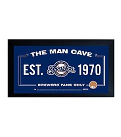 MLB® Milwaukee Brewers Man Cave Sign with Authentic Game Used Dirt
