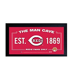 MLB® Cincinnati Reds Man Cave Sign with Authentic Game Used Dirt