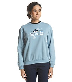Morning Sun® Petites' Cheerful Snowman Fleece Sweatshirt