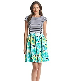 Madison Leigh® Striped Floral Fit And Flare Dress
