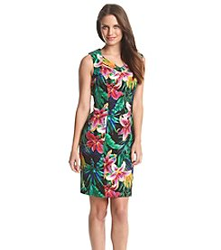 Connected® V-Neck Cutout Tropical Patterned Dress