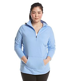 Exertek® Plus Size Solid French Terry Half Zip Pull Over
