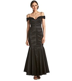 Xscape Taffeta Off The Shoulder Ruched Mermaid Gown