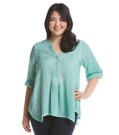 Democracy Plus Size Pigment Dye Henley Top