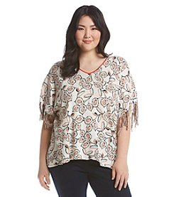 Democracy Plus Size Printed Poncho With Fringe