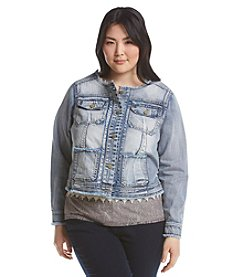 Democracy Plus Size Frayed Denim Jacket
