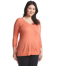 Democracy Plus Size Asymmetrical Hem Sweater