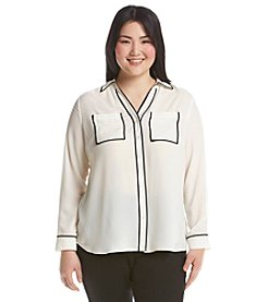 Relativity® Plus Size Solid Blouse