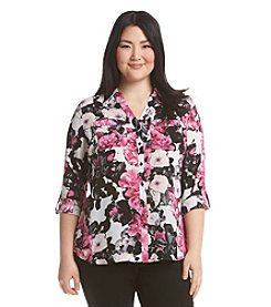 Relativity® Plus Size Floral Print Blouse
