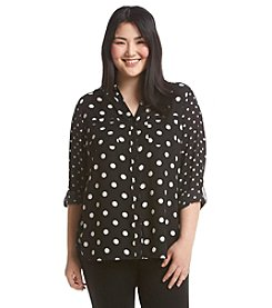 Relativity® Plus Size Polka Dot Blouse