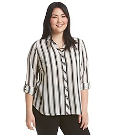 Relativity® Plus Size Stripe Blouse