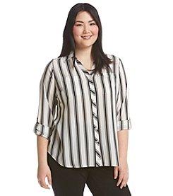 Relativity® Plus Size Stripe Blouse