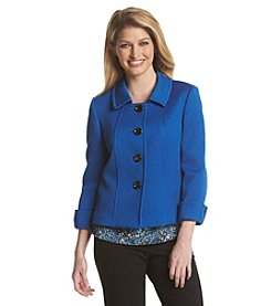 Tahari ASL® Textured Button Front Jacket