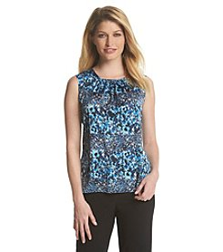 Tahari ASL® Shirred Floral Print Top