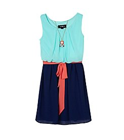 A. Byer Girls' 7-16 Colorblock Chiffon Dress With Sash