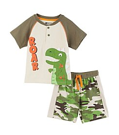 Nannette® Baby Boys' Roar Dino Printed Shirt And Camo Shorts Set