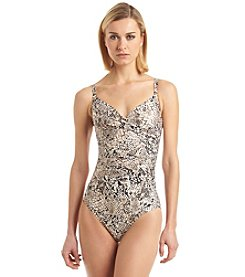Calvin Klein Printed Twist One-Piece