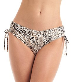 Calvin Klein Printed Side Shirred Hipster Swim Bottoms
