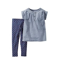Carter's® Girls' 2T-6X Chambray Shirt And Geo Print Leggings Set