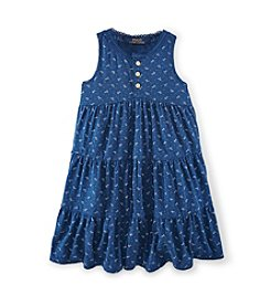 Ralph Lauren Childrenswear Girls' 2T-16 Blue And Cream Swing Dress