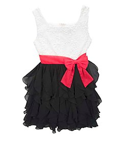 Rare Editions® Girls' 7-16 Floral Lace Bow Dress