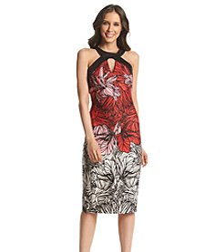 Sangria™ Cutout Patterned Scuba Dress