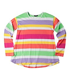 Chaps® Girls' 7-16 Hanna Striped Long Sleeved T-Shirt