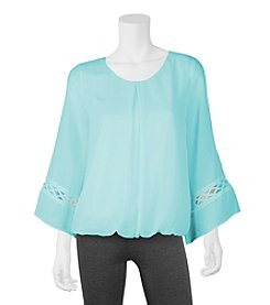 A. Byer Lattice Inset Bubble Blouse