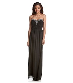 A. Byer Jeweled Strapless Gown