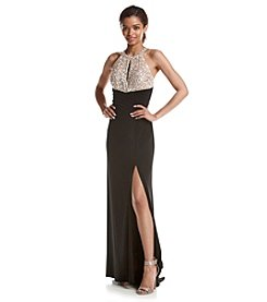 Morgan & Co.® Jeweled Halter Gown