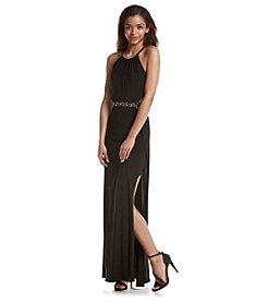 Morgan & Co.® Beaded Halter Gown