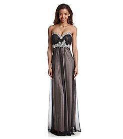 My Michelle® Pleated Jeweled Gown