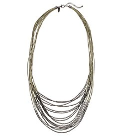 Natasha Hematite Tone Cord Necklace