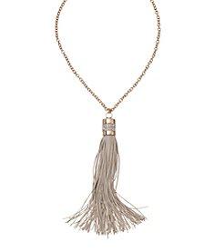 Natasha Silvertone Tassel Necklace
