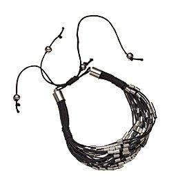 Natasha Silvertone Black Bracelet