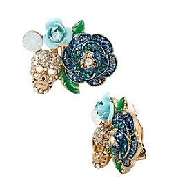 Betsey Johnson® Goldtone Pave Flower & Skull Cluster Clip-On Earrings