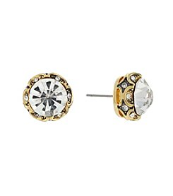 Jessica Simpson Goldtone Dark Crystal Channel Stud Earrings