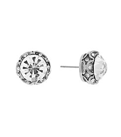 Jessica Simpson Silvertone Dark Crystal Channel Stud Earrings