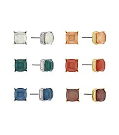 Jessica Simpson® Two Tone Multi Six Stone Earrings Set